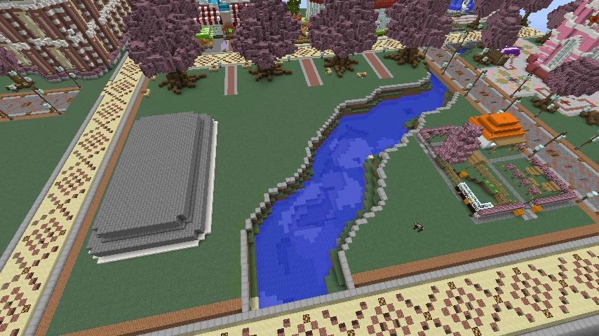 Minecrafterししゃもがマインクラフトでぷっこ村に豚をフィーチャーした公園を建築する2