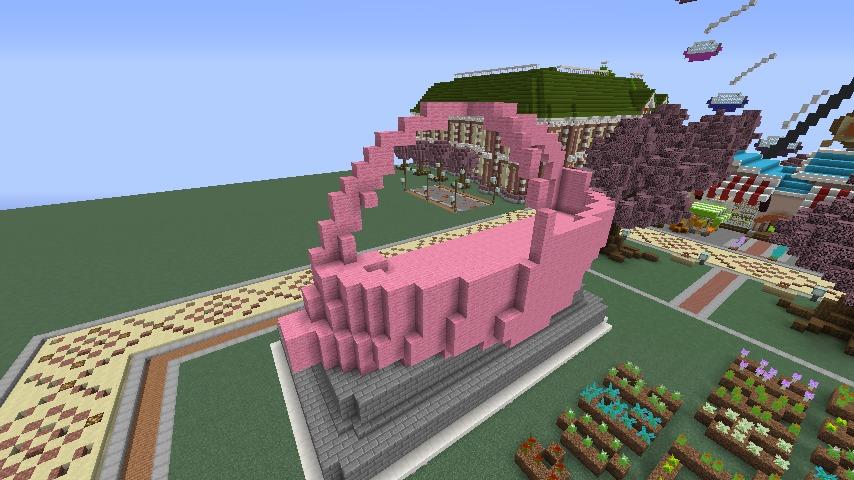 Minecrafterししゃもがマインクラフトでぷっこ村に豚をフィーチャーした公園を建築する6
