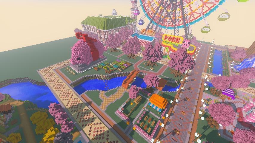 Minecrafterししゃもがマインクラフトでぷっこ村に豚をフィーチャーした公園を建築する13