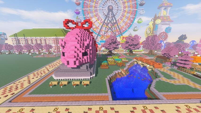 Minecrafterししゃもがマインクラフトでぷっこ村に豚をフィーチャーした公園を建築する14