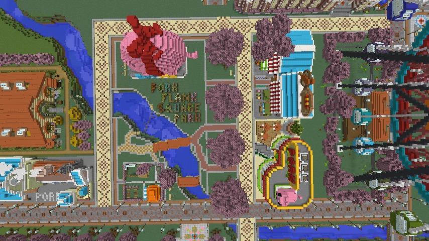 Minecrafterししゃもがマインクラフトでぷっこ村に豚をフィーチャーした公園を建築する11