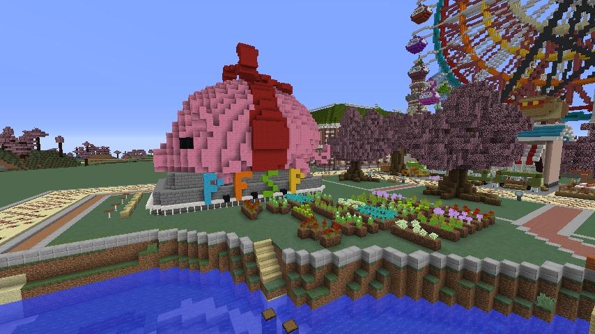 Minecrafterししゃもがマインクラフトでぷっこ村に豚をフィーチャーした公園を建築する10