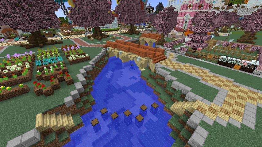 Minecrafterししゃもがマインクラフトでぷっこ村に豚をフィーチャーした公園を建築する12
