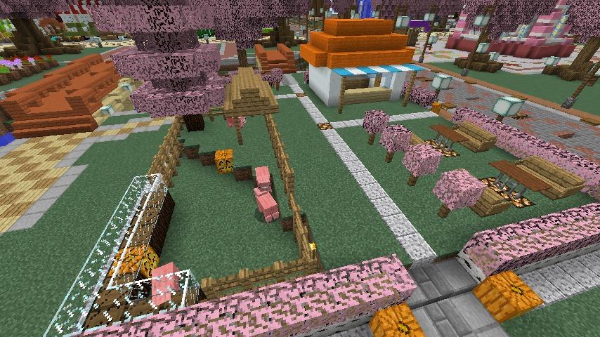 Minecrafterししゃもがマインクラフトでぷっこ村に豚をフィーチャーした公園を建築する3
