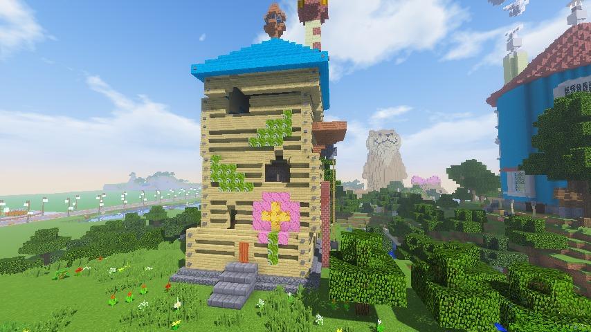 Minecrafterししゃもがマインクラフトでぷっこ村にフィリフヨンカの家を建築する13