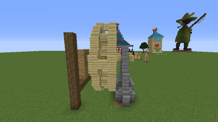 Minecrafterししゃもがマインクラフトでぷっこ村にムーミン谷にありそうな水車小屋を建築する3