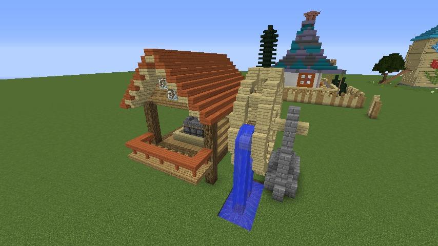Minecrafterししゃもがマインクラフトでぷっこ村にムーミン谷にありそうな水車小屋を建築する4