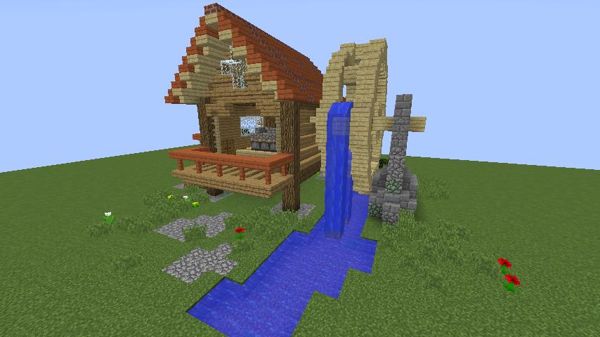 Minecrafterししゃもがマインクラフトでぷっこ村にムーミン谷にありそうな水車小屋を建築する7