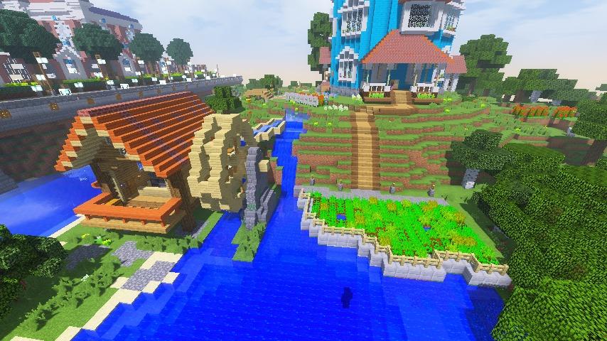 Minecrafterししゃもがマインクラフトでぷっこ村にムーミン谷にありそうな水車小屋を建築する11