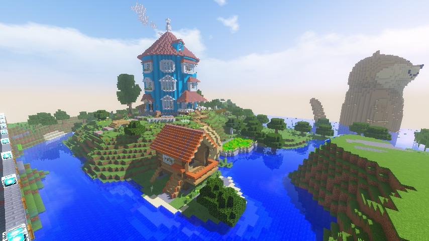 Minecrafterししゃもがマインクラフトでぷっこ村にムーミン谷にありそうな水車小屋を建築する12