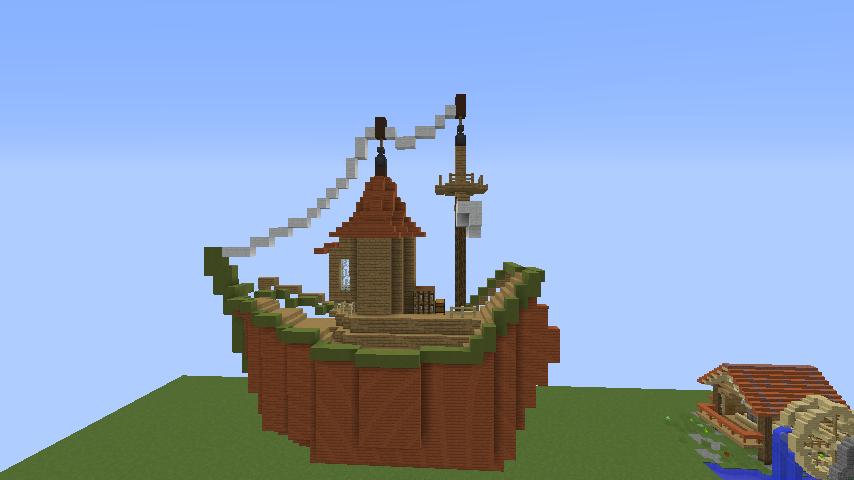 Minecrafterししゃもがマインクラフトでぷっこ村に海のオーケストラ号を建築するよ3