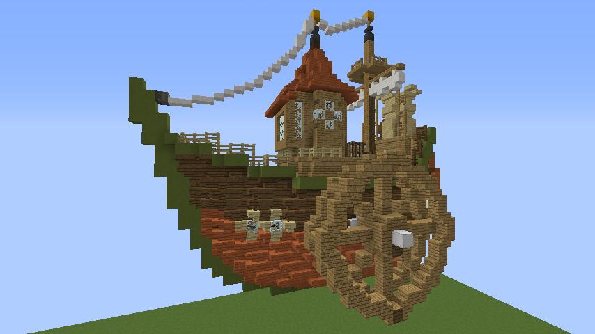 Minecrafterししゃもがマインクラフトでぷっこ村に海のオーケストラ号を建築するよ7