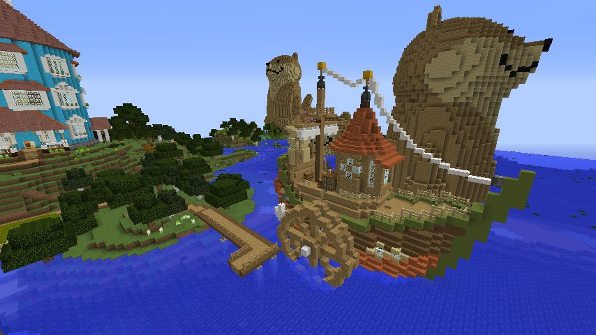 Minecrafterししゃもがマインクラフトでぷっこ村に海のオーケストラ号を建築するよ10