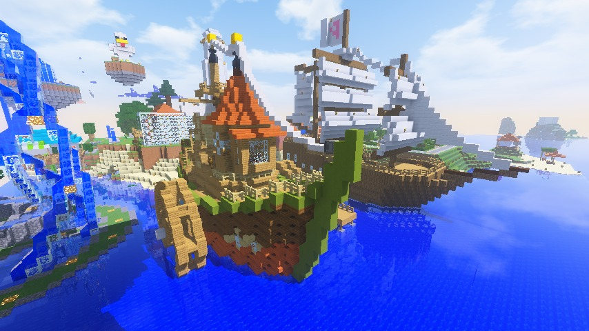 Minecrafterししゃもがマインクラフトでぷっこ村に海のオーケストラ号を建築するよ12