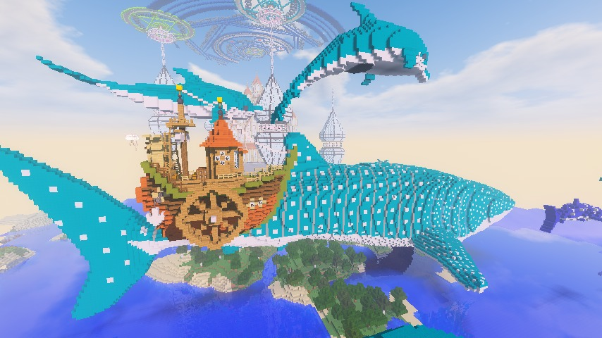 Minecrafterししゃもがマインクラフトでぷっこ村に海のオーケストラ号を建築するよ14