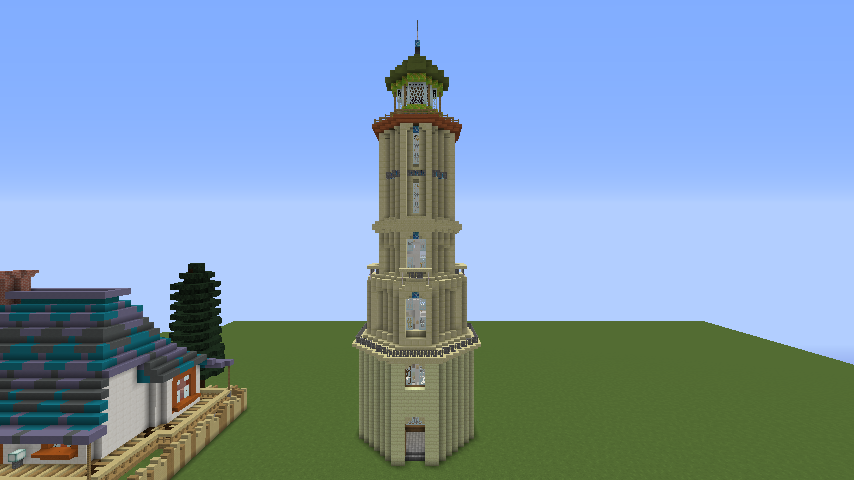 Minecrafterししゃもがマインクラフトでぷっこ村にソーダ―シャール灯台を建築してみる8