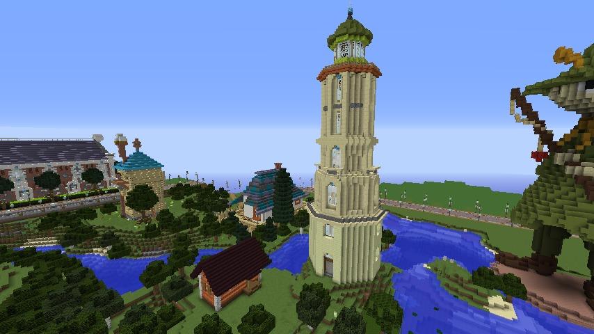 Minecrafterししゃもがマインクラフトでぷっこ村にソーダ―シャール灯台を建築してみる11