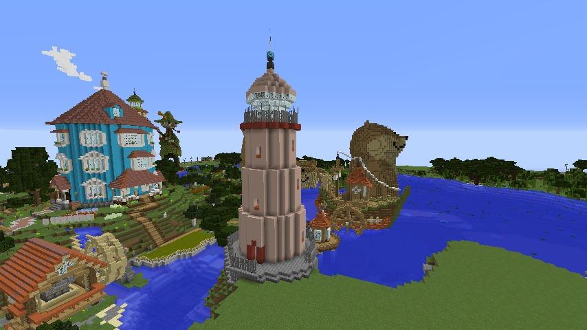 Minecrafterししゃもがマインクラフトでぷっこ村にムーミンパパの灯台を作るよ