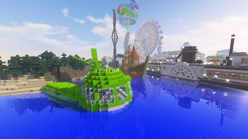 Minecrafterししゃもがマインクラフトでぷっこ村に新・海のオーケストラ号を作る12