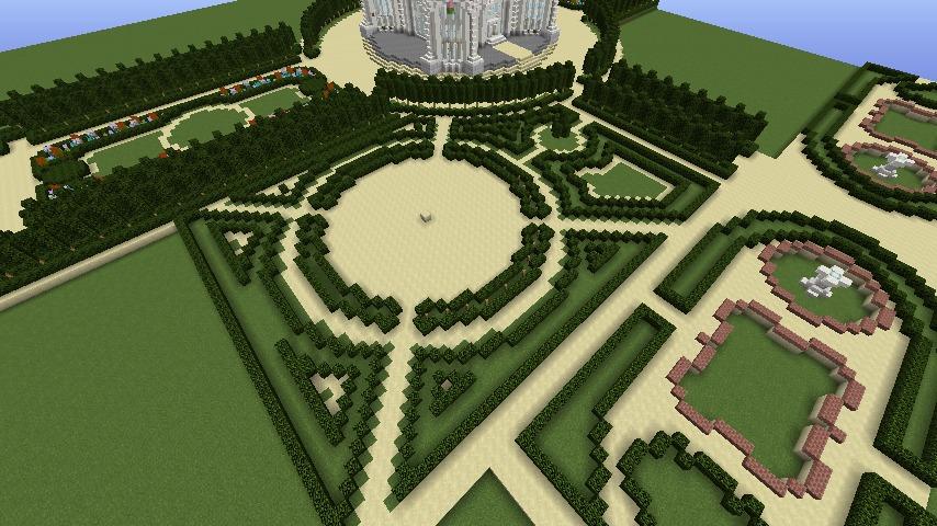 Minecrafterししゃもがマインクラフトでぷっこ村にベルサイユっぽい庭園をつくる3