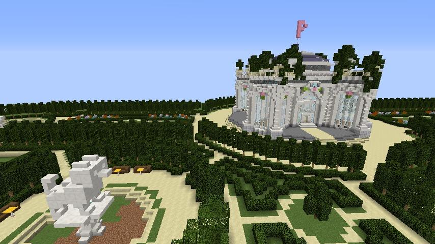 Minecrafterししゃもがマインクラフトでぷっこ村にベルサイユっぽい庭園をつくる7