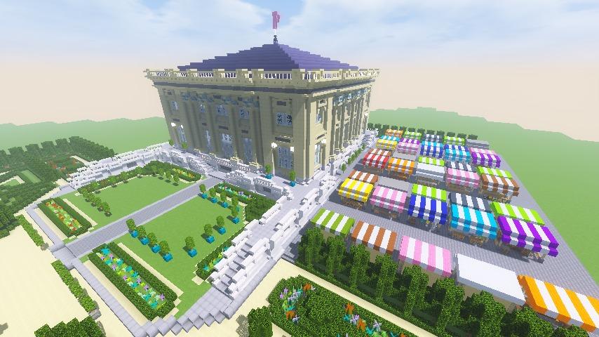 Minecrafterししゃもがマインクラフトでぷっこ村にベルサイユっぽい庭園の東側を作っていく話18