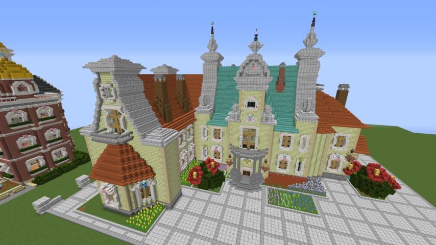 Minecrafterししゃもがマインクラフトでぷっこ村にガーデンスケイプな庭師のお屋敷を建築する11