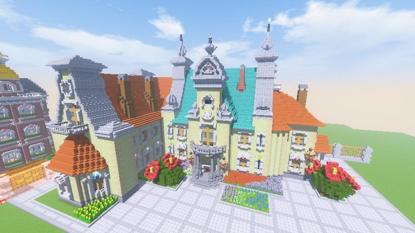Minecrafterししゃもがマインクラフトでぷっこ村にガーデンスケイプな庭師のお屋敷を建築する15