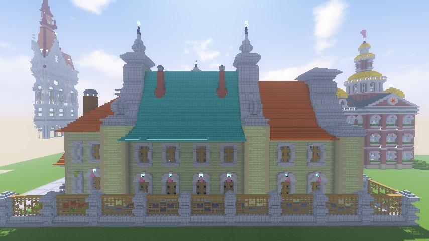 Minecrafterししゃもがマインクラフトでぷっこ村にガーデンスケイプな庭師のお屋敷を建築する16
