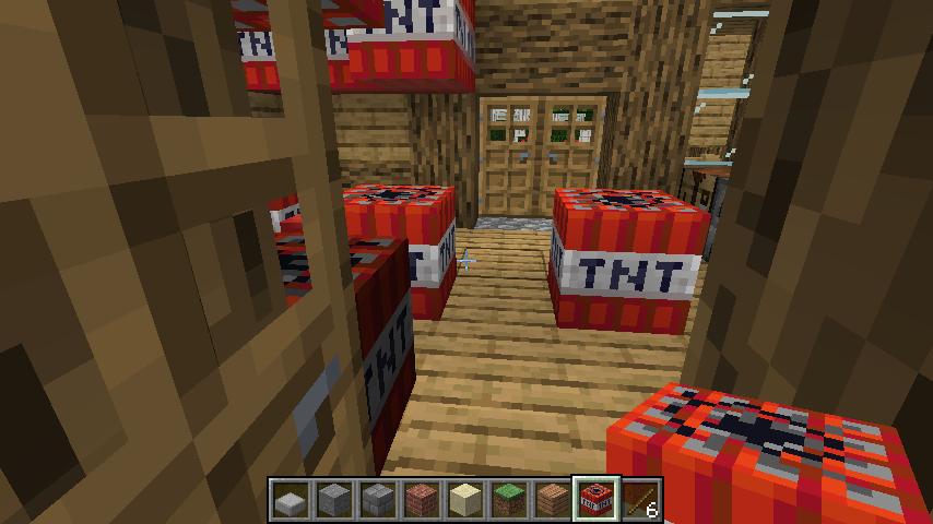 Minecrafterししゃもがマインクラフトでぷっこ村に建てた別荘が爆破される6