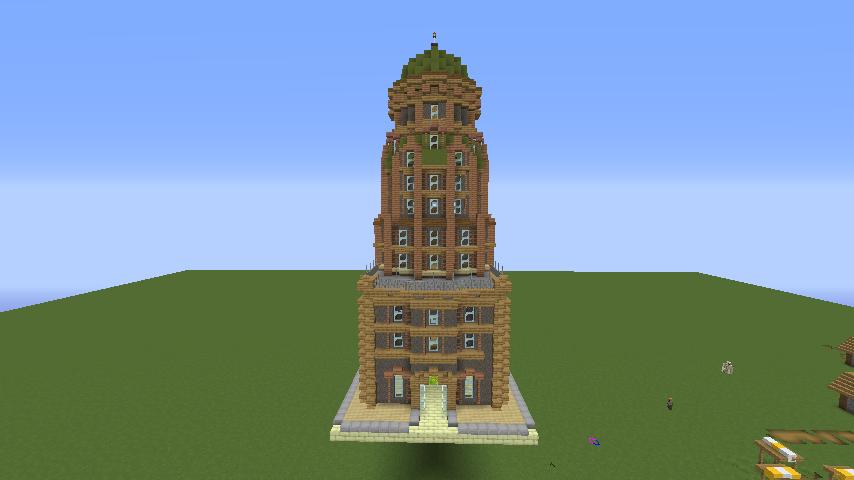 Minecrafterししゃもがマインクラフトでぷっこ村の空中都市に何かのビルを作る4