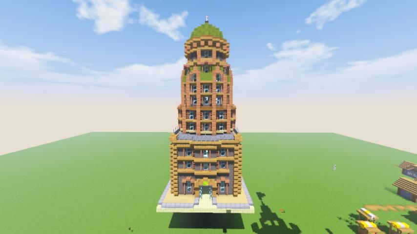 Minecrafterししゃもがマインクラフトでぷっこ村の空中都市に何かのビルを作る7