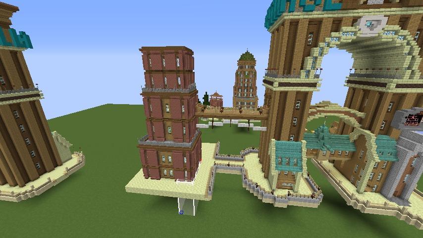 Minecrafterししゃもがマインクラフトでぷっこ村の観光名所プコサヴィルに何かのビルを作る1
