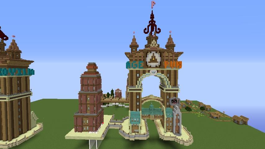 Minecrafterししゃもがマインクラフトでぷっこ村の観光名所プコサヴィルに何かのビルを作る2