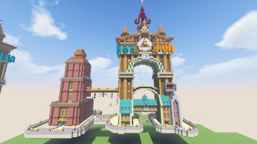 Minecrafterししゃもがマインクラフトでぷっこ村の観光名所プコサヴィルに何かのビルを作る3