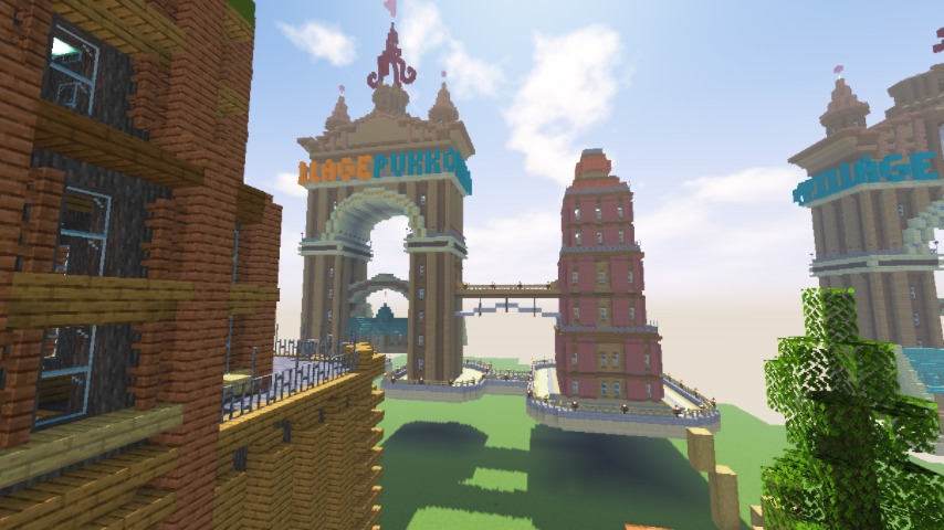 Minecrafterししゃもがマインクラフトでぷっこ村の観光名所プコサヴィルに何かのビルを作る4