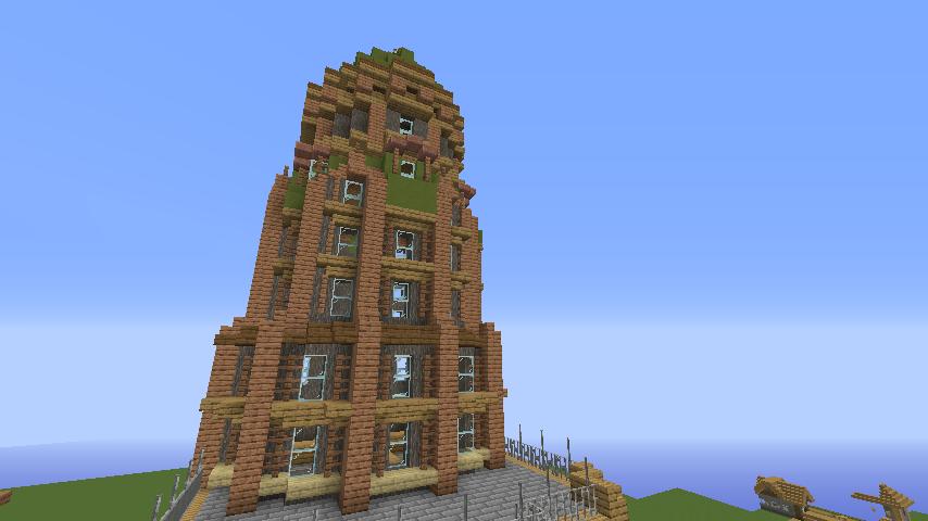 Minecrafterししゃもがマインクラフトでぷっこ村の空中都市に何かのビルを作る3