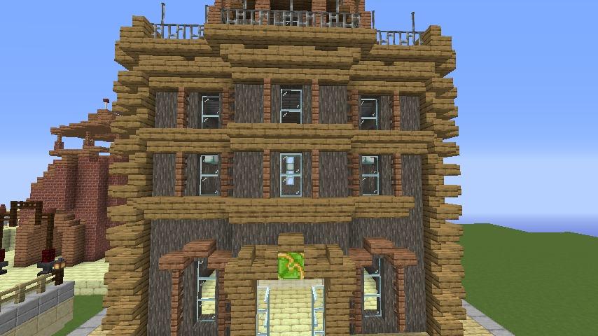 Minecrafterししゃもがマインクラフトでぷっこ村の空中都市に何かのビルを作る2