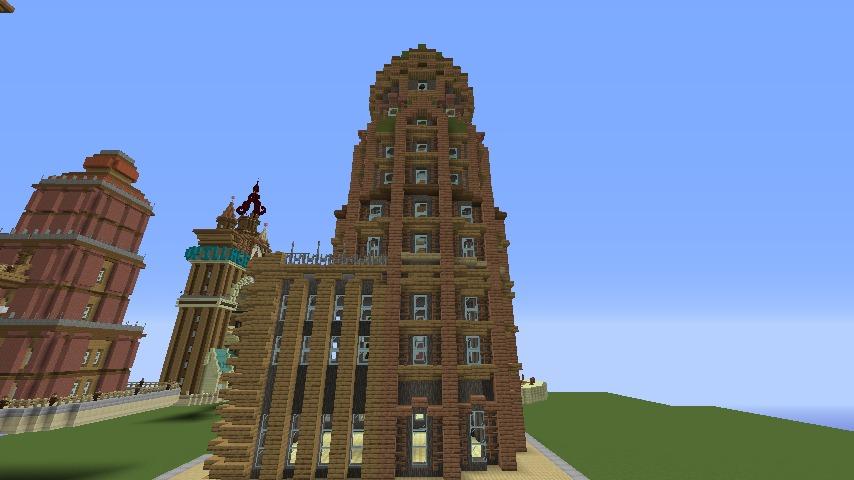 Minecrafterししゃもがマインクラフトでぷっこ村の空中都市に何かのビルを作る5