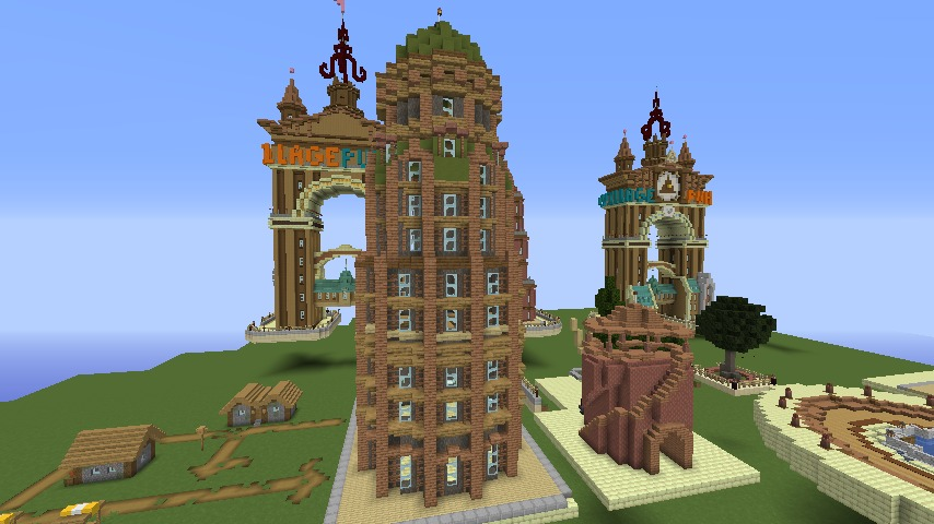 Minecrafterししゃもがマインクラフトでぷっこ村の空中都市に何かのビルを作る6