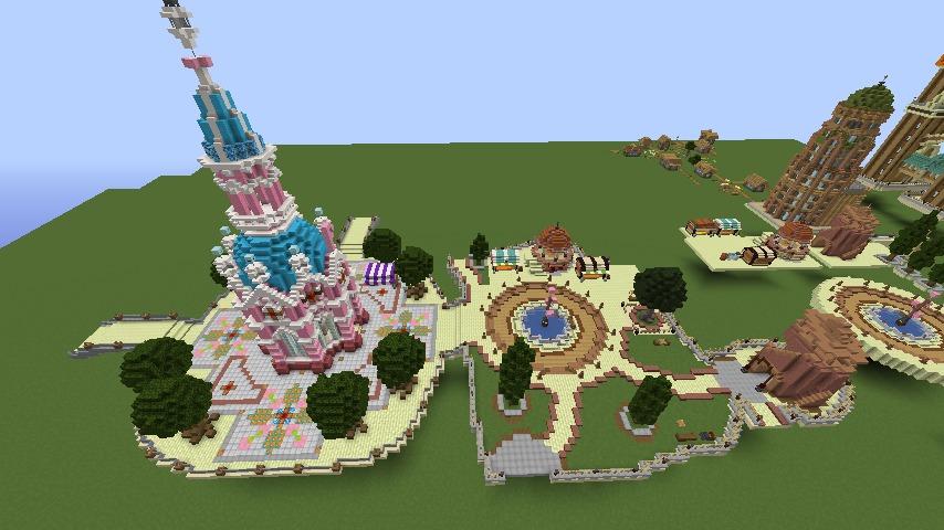 Minecrafterししゃもがマインクラフトで空中都市プコサヴィルの公園を作る4
