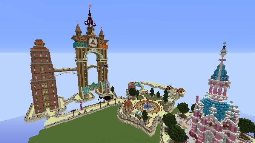 Minecrafterししゃもがマインクラフトで空中都市プコサヴィルの街並みを作る1