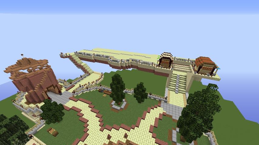 Minecrafterししゃもがマインクラフトで空中都市プコサヴィルの街並みを作る2