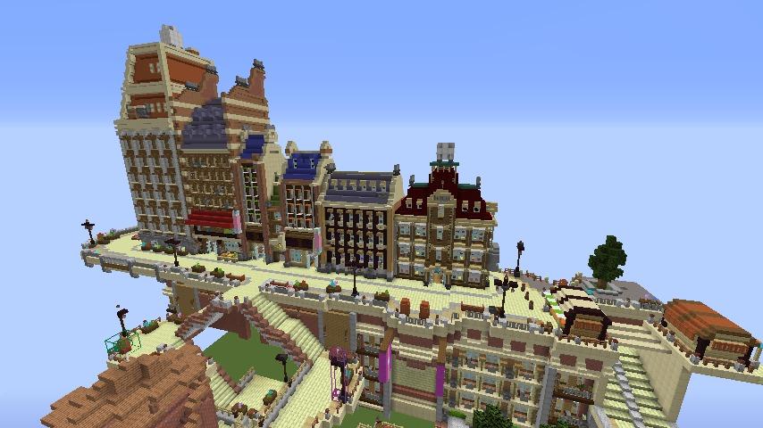 Minecrafterししゃもがマインクラフトで空中都市プコサヴィルの街並みを作る3