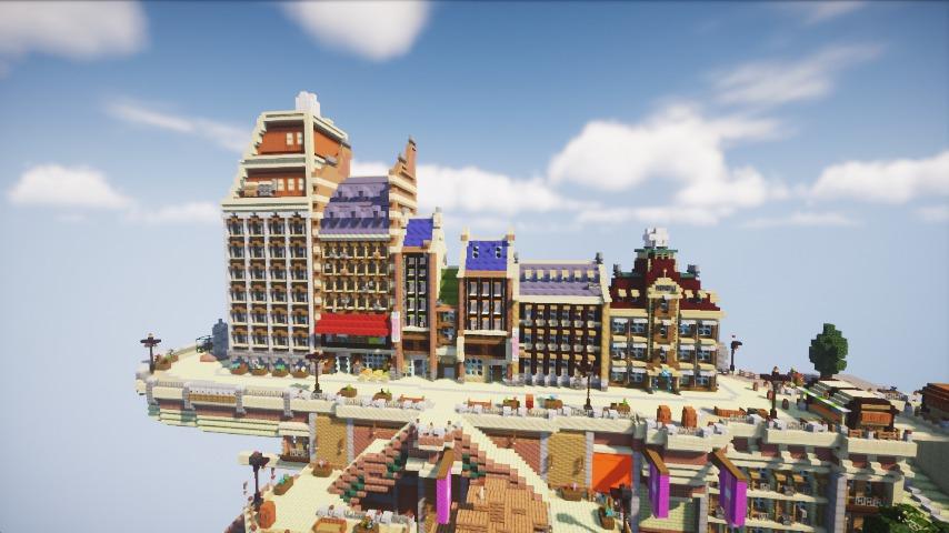 Minecrafterししゃもがマインクラフトで空中都市プコサヴィルの街並みを作る9