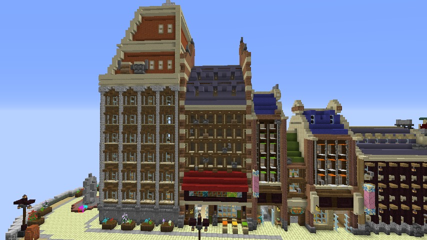 Minecrafterししゃもがマインクラフトで空中都市プコサヴィルの街並みを作る7