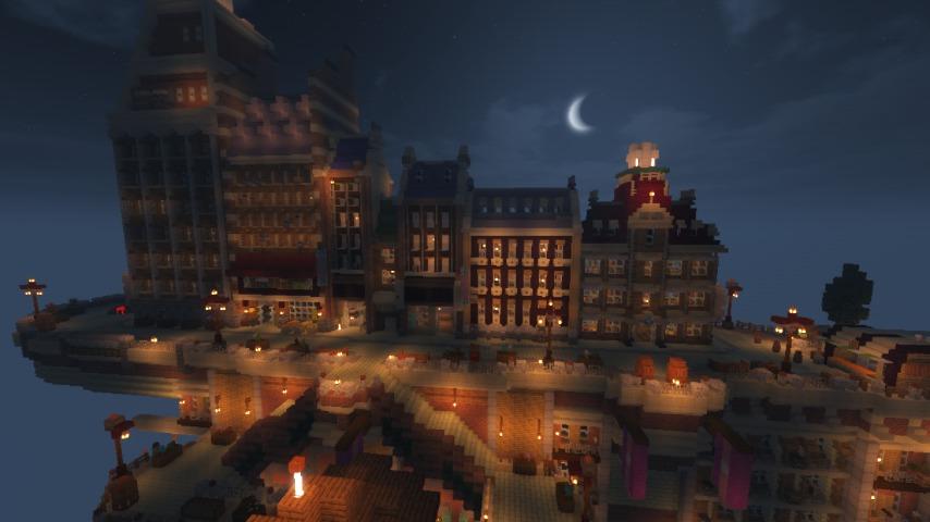Minecrafterししゃもがマインクラフトで空中都市プコサヴィルの街並みを作る10