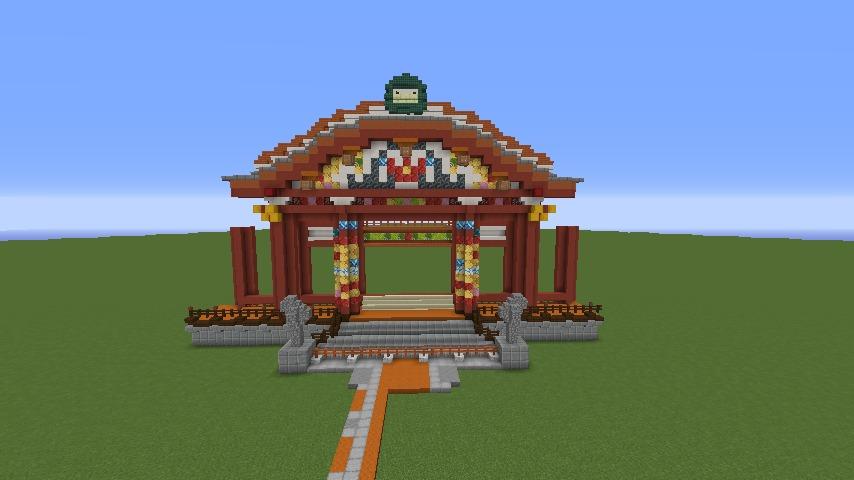 Minecrafterししゃもがマインクラフトでぷっこ村に焼失した首里城を再建したい3
