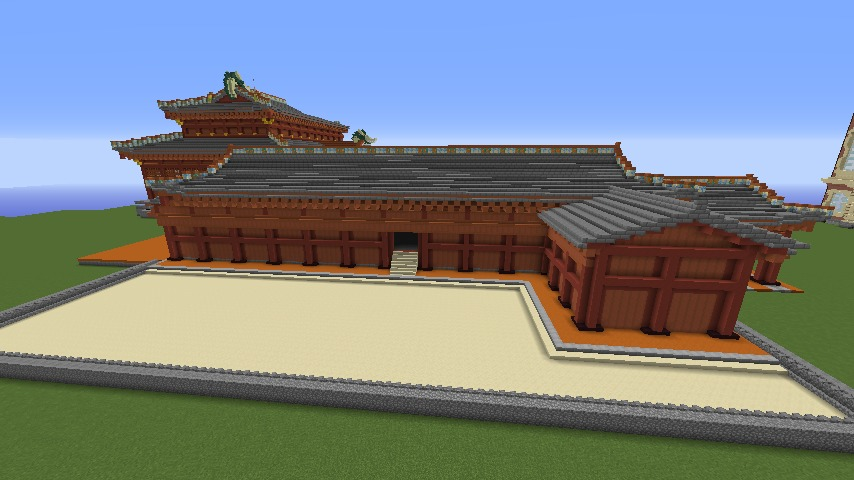 Minecrafterししゃもがマインクラフトで焼失した首里城正殿の北側をぷっこ村に再建する5
