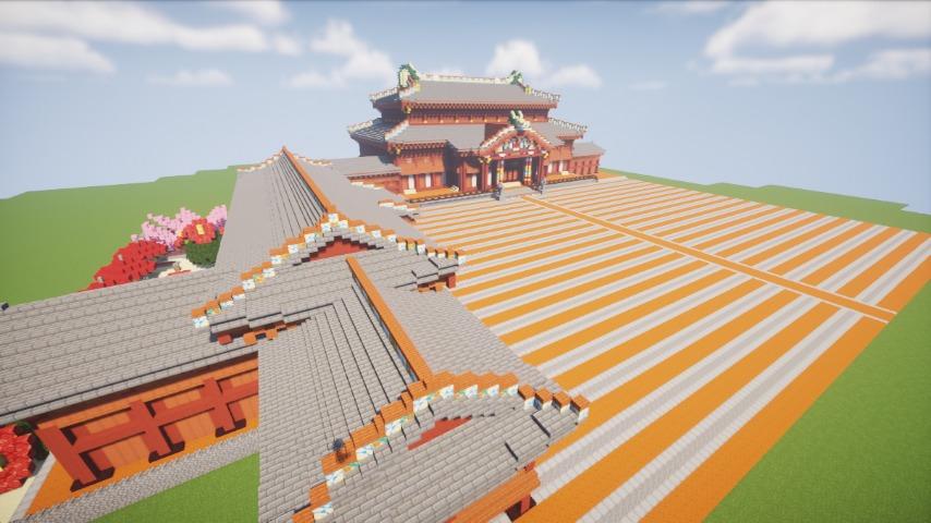 Minecrafterししゃもがマインクラフトで焼失した首里城正殿の北側をぷっこ村に再建する9